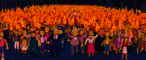 The Simpsons Movie Angry Mob