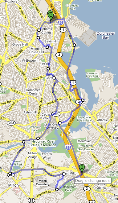 Google Map of Bike Trip on April 17th, 2008