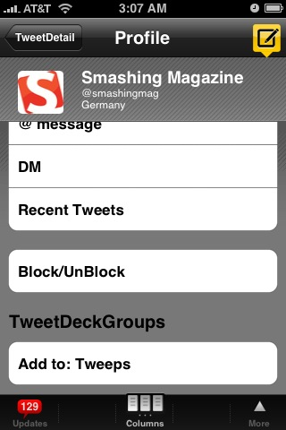 The bio page, add to groups, follow, @, DM, or block